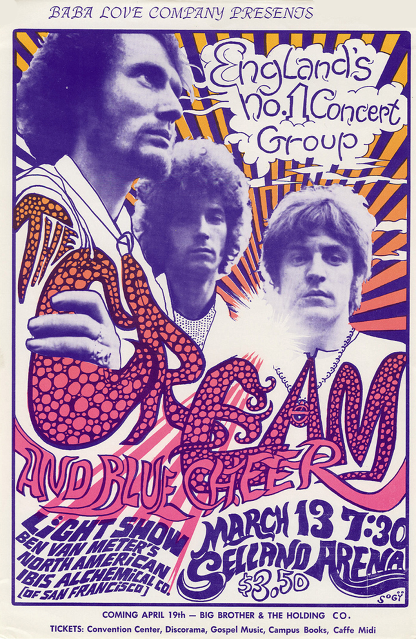 Cream - Blue Cheer Selland Arena 1968