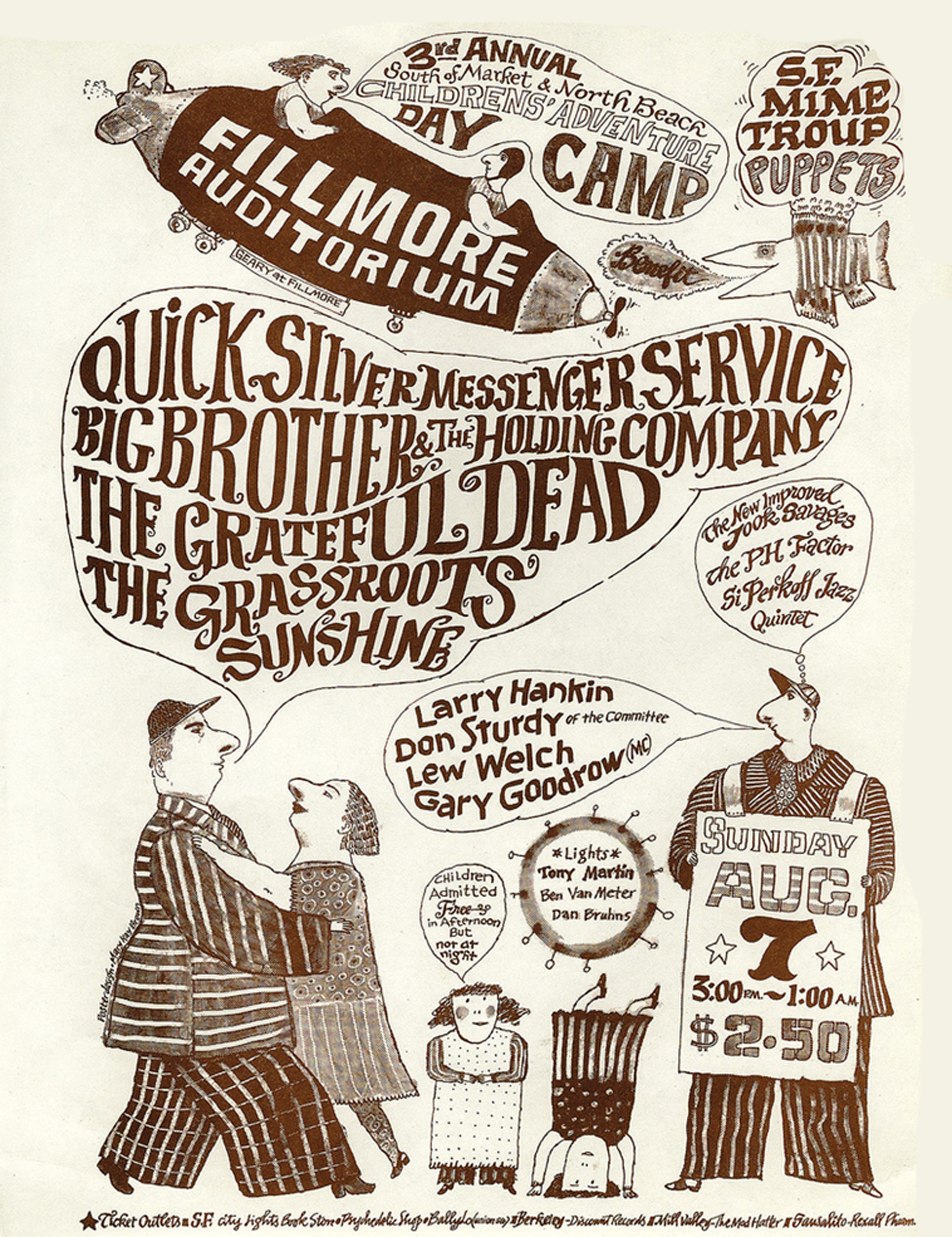 Grateful Dead Fillmore Day Camp Concert Handbill 1966