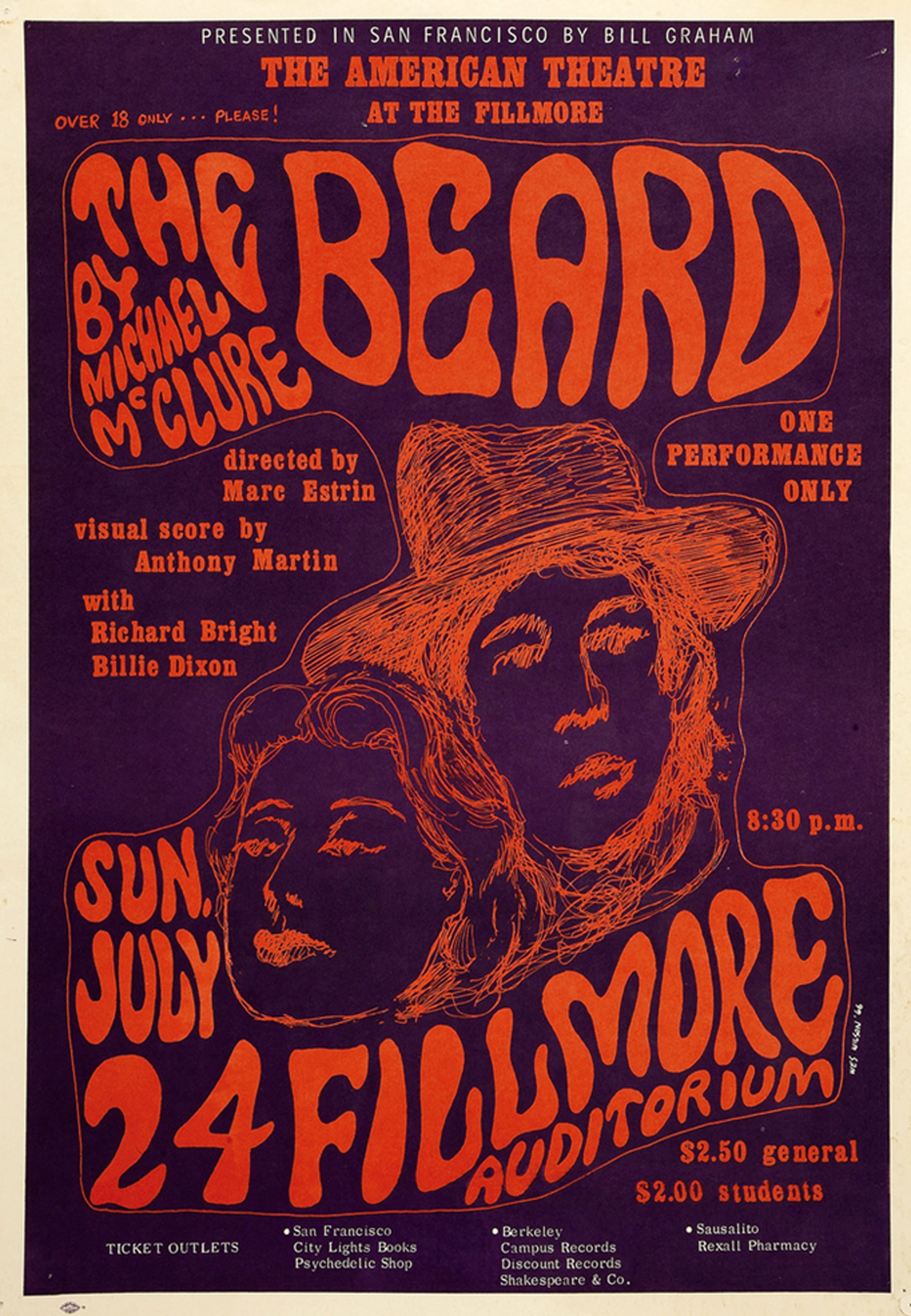 The Beard Theatrical Play Fillmore Poster 1966