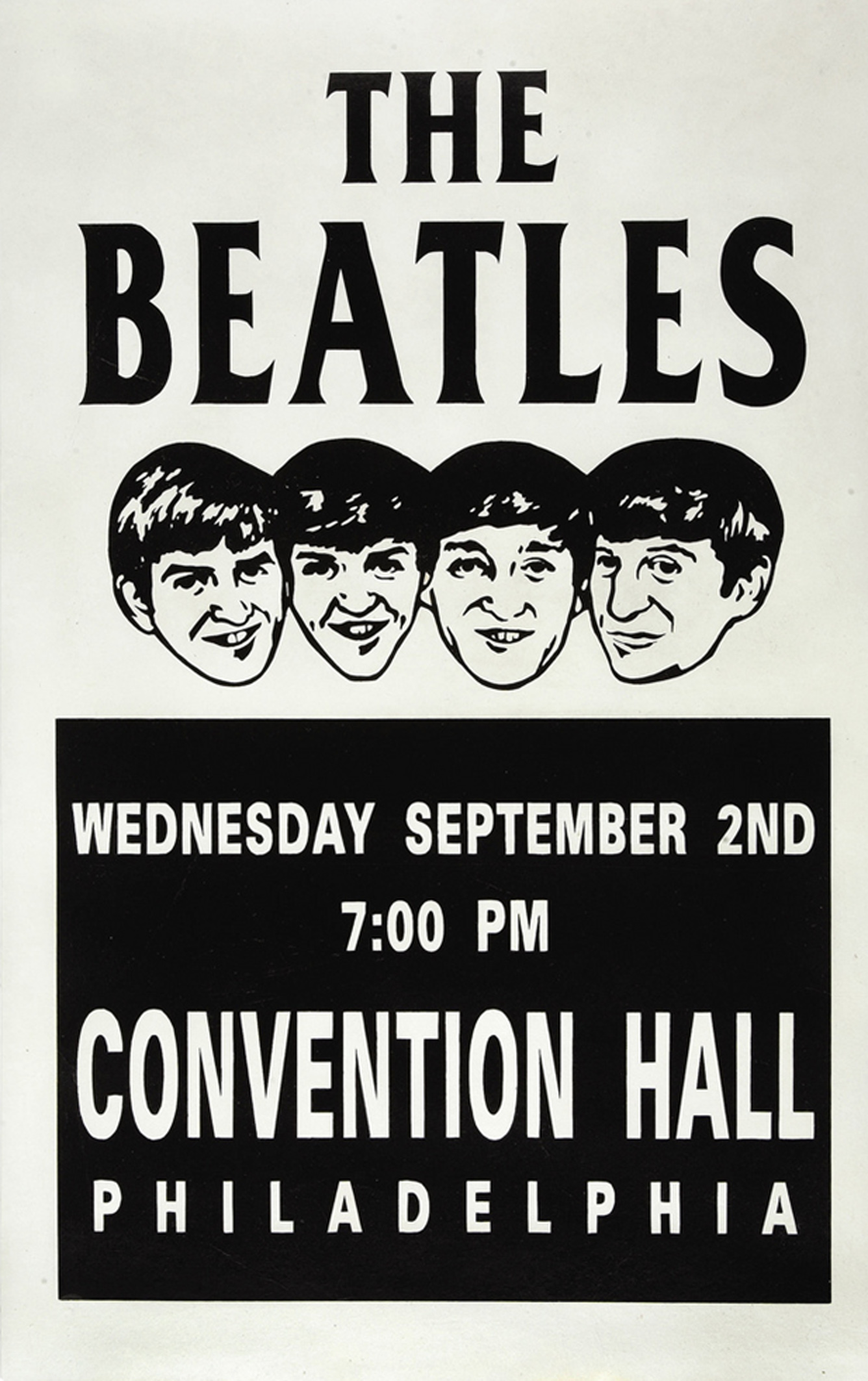 The Beatles Philadelphia Convention Center Concert Poster 1964