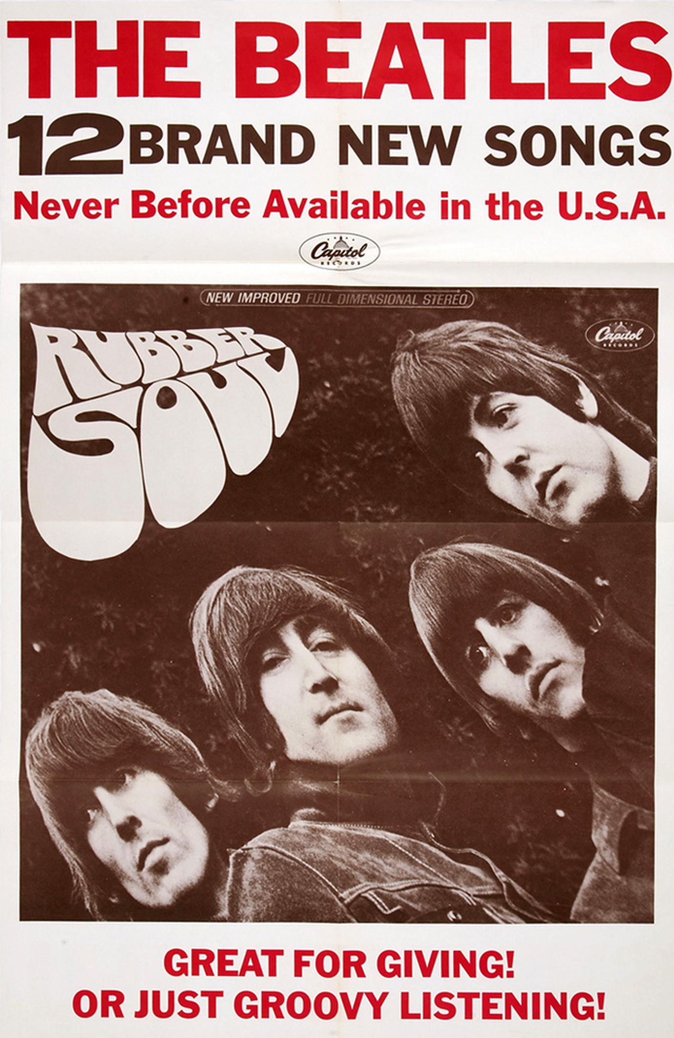 The Beatles Rubber Soul Promo Poster (Capitol, 1965)