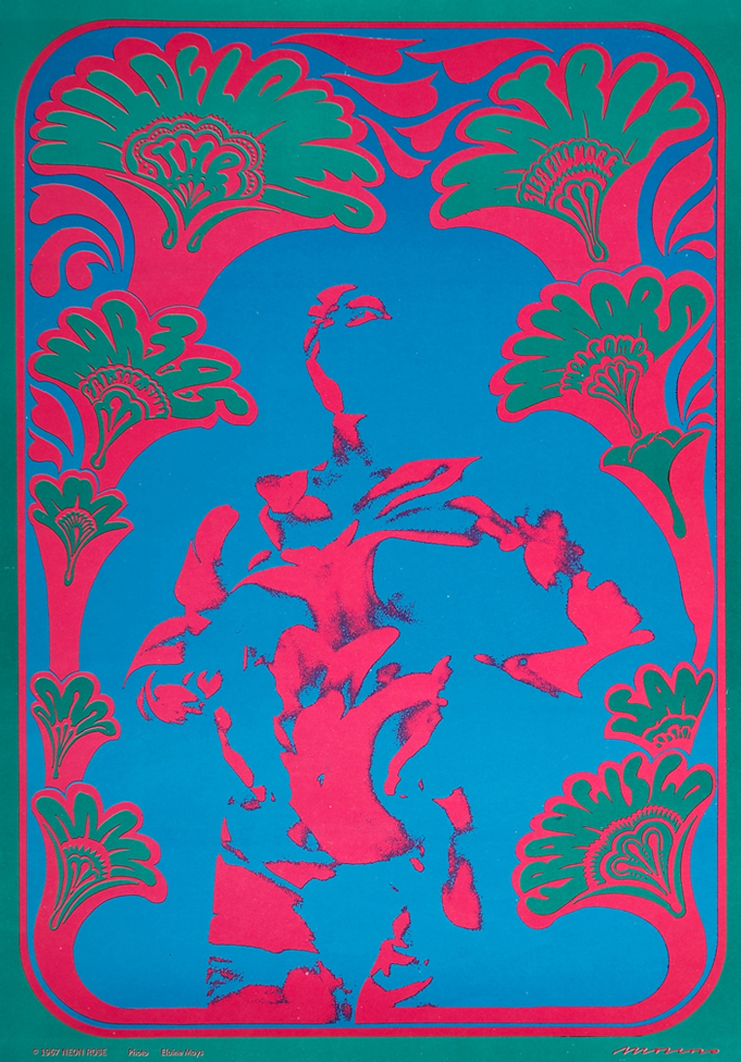 Wildflower Neon Rose Concert Poster 1967